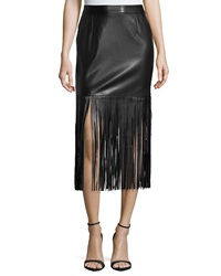 Neiman Marcus Faux Leather Long Fringe Skirt Black