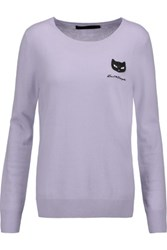 Karl Lagerfeld Appliqued Wool And Cashmere Blend Sweater Lavender