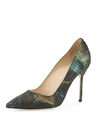 Manolo Blahnik Bb 105Mm Iridescent Watersnake Pump Blue Green Women's