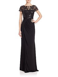 David Meister Sequined Lace And Jersey Gown Black