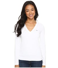 Lacoste Long Sleeve Cotton Jersey V Neck Tee Shirt White Women's T Shirt