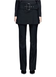 Givenchy Belted Apron Front Twill Skirt Black