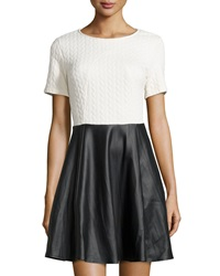 Romeo And Juliet Couture Quilted Fit And Flare Dress W Faux Leather Skirt Ivory