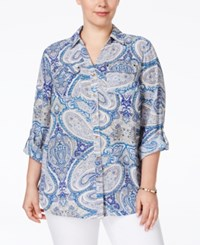 Charter Club Plus Size Paisley Print Button Down Blouse Only At Macy's Modern Blue