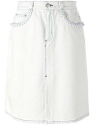 See By Chloe Slit Front Denim Skirt White
