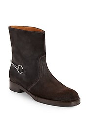Gucci Susan Suede Horse Bit Ankle Boots Cocoa