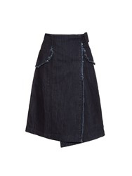 Tomas Maier Oversized Pockets Wrap Denim Skirt