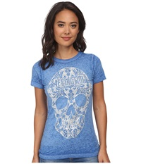 Affliction Kelsey Skull Short Sleeve Tee Cobalt Burnout Women's T Shirt Blue