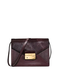 Gia Medium Snake And Calf Hair Crossbody Bag Bordeaux Michael Kors