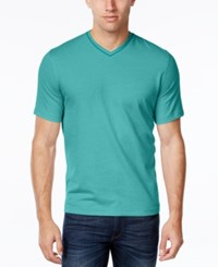 Tasso Elba Men's V Neck Heathered T Shirt Cabana Aqua