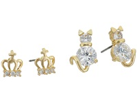 Betsey Johnson Cubic Zirconia Cat Crown Duo Stud Earrings Crystal Gold Plate Earring