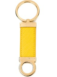 Salvatore Ferragamo Gancio Keyring Yellow And Orange