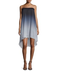 Halston Strapless Ombre Flowy Dress Mist Tonal