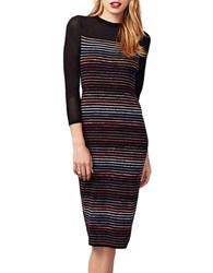 Rachel Roy Striped Three Quarter Sleeve Sheath Dress Black Multi