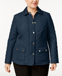 Charter Club Plus Size Quilted Coat Only At Macy's Intrepid Blue