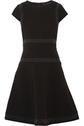 Karl Lagerfeld Mesh Trimmed Crepe Mini Dress Black