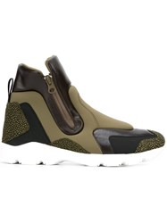 Maison Martin Margiela Mm6 High Top Panelled Sneakers Green