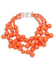 Kenneth Jay Lane Beaded Statement Necklace Coral