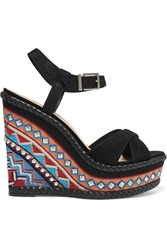 Schutz Laurie Studded And Embroidered Suede Wedge Sandals Black
