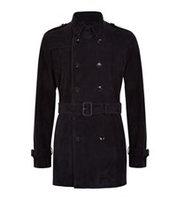 Boss T Carston Suede Trench Coat Male Navy