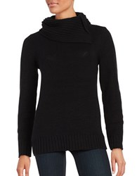 Lord And Taylor Split Neck Knit Top Black