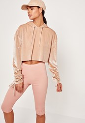 Missguided Nude Velour Tie Cuff Cropped Hoodie Stone