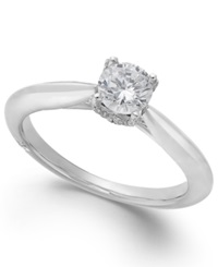 Classic By Marchesa Certified Diamond Solitaire Engagement Ring In 18K White Gold 1 2 Ct. T.W.