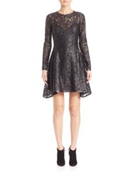 Josie Natori Lacquer Lace Long Sleeve Dress Black