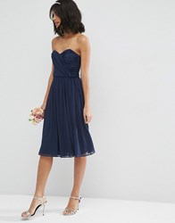 Asos Wedding Chiffon Bandeau Midi Dress Navy