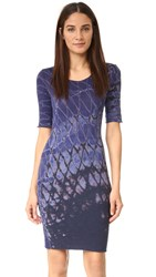 Raquel Allegra Short Sleeve Fitted Dress Indigo Tie Dye