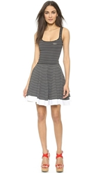 Dsquared Striped Circle Dress Black White