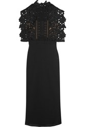 Self Portrait Guipure Lace And Crepe Midi Dress Black