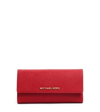 Michael Kors Jet Set Travel Saffiano Leather Checkbook Wallet Red