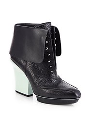 3.1 Phillip Lim Juno Leather Fold Over Ankle Boots Black