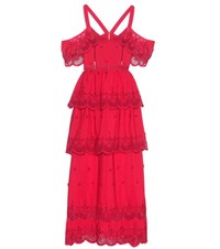 Self Portrait Off The Shoulder Broderie Anglaise Dress Red