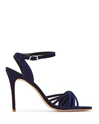Reiss Billie Twisted Suede Ankle Strap Sandals Royal Blue