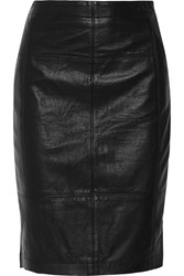 Halston Leather And Stretch Jersey Pencil Skirt Black