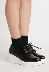 Forever 21 Faux Leather Flatform Oxfords Black