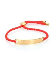 Monica Vinader Havana Hammered 18K Yellow Gold Vermeil And Poppy Nylon Friendship Bracelet