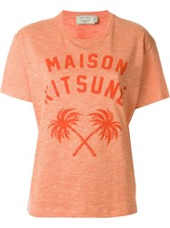 Maison Kitsune Front Print T Shirt Yellow And Orange