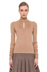 Women's Akris Mock Neck Front Zip Cashmere Blend Shirt