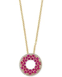 Effy Collection Effy Ruby 2 Ct. T.W. And Diamond 1 2 Ct. T.W. Pendant Necklace In 14K Gold Red