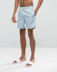 Asos Swim Shorts In Pastel Blue With Neon Drawcord Mid Length Blue