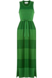 Sonia Rykiel Wool Silk Striped Knit Dress Green