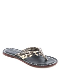 Bernardo Miami Leather Thong Sandals Crystal Snake