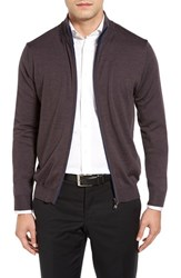 Toscano Men's Mouline Mock Neck Zip Cardigan