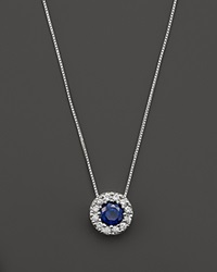Bloomingdale's Sapphire And Diamond Halo Pendant Necklace In 14K White Gold 18 White Blue