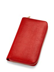Aspinal Of London Travel Wallet Zipped With Passport Red