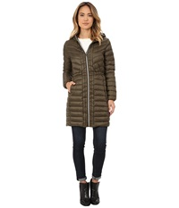 Cole Haan Chevron Quilted Hooded Single Breasted Lightweight Packable Down Olive Women's Coat