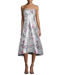 Phoebe Couture Strapless Printed Tea Length Gown White Multi